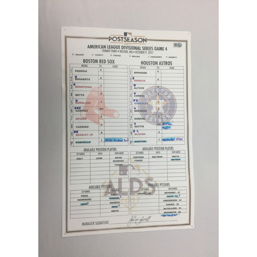 October 9, 2017 Astros at Red Sox ALDS Game 4 Game-Used Lineup Card