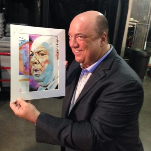 Paul Heyman Signed Painting by Rob Schamberger