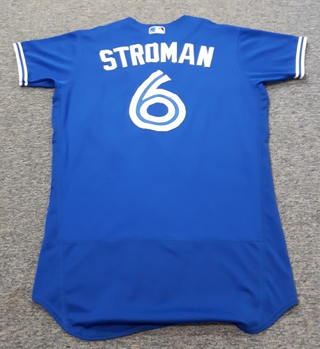 Photo of Authenticated Game Used Jersey - #6 Marcus Stroman (April 25, 2017: Stroman went 1-for-1 with 1 Double and scored the go-ahead run. 1st career MLB hit. July 29, 2017). Size 42.