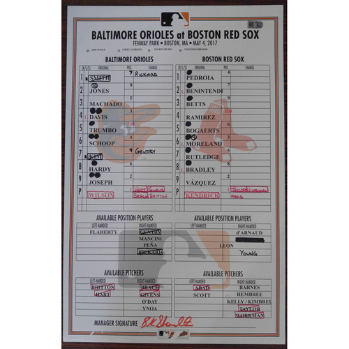 Photo of Game-Used Lineup Card: Baltimore Orioles @ Boston Red Sox 5/4/2017