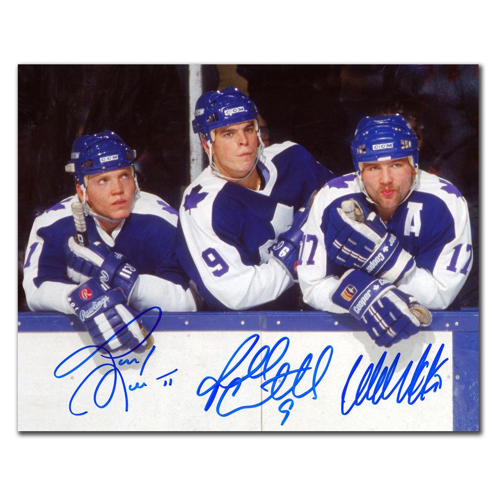 Wendel Clark, Russ Courtnall & Gary Leeman Toronto Maple Leafs Hound Line Autographed 8x10