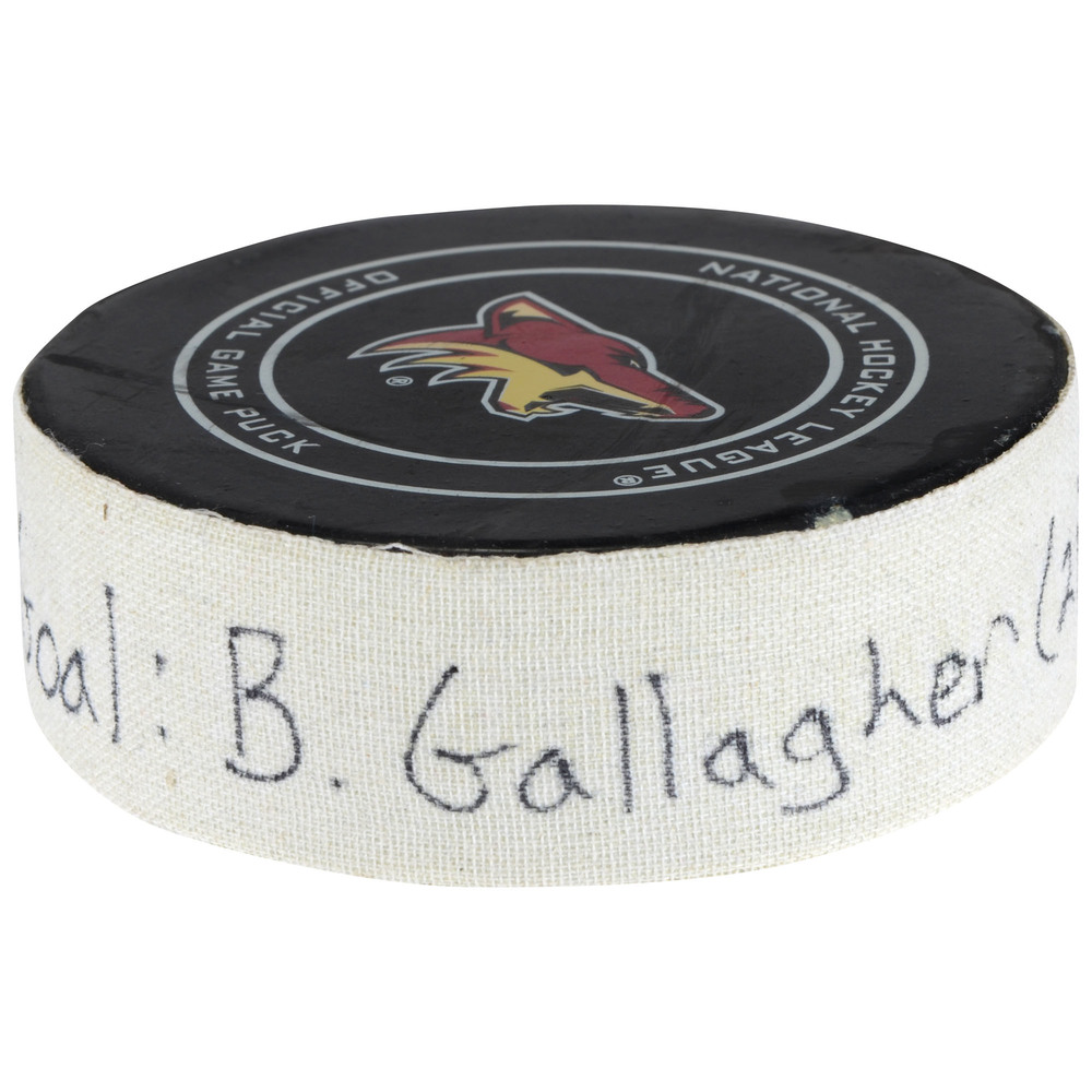 Brendan Gallagher Montreal Canadiens Game-Used Goal Puck From February 15, 2018 vs. Arizona Coyotes