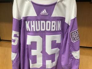 c5f31b0f670 Anton Khudobin Warm Up Worn Hockey Fights Cancer JerseyAnton Khudobin Warm  Up Worn Hockey Fights Cancer Jersey