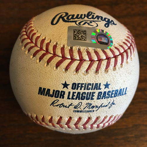 Photo of Game-Used Baseball: Pitcher Collin McHugh, Batter: Elvis Andrus (Single) - Top 6 - 5/12/19 vs. TEX - Corbin Martin MLB Debut