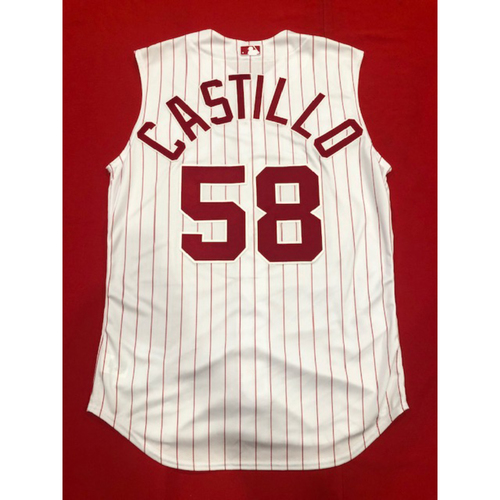 Photo of Luis Castillo -- Team-Issued 1995 Throwback Jersey -- D-backs vs. Reds on Sept. 8, 2019 -- Jersey Size 46