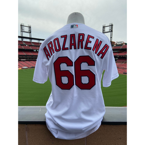 Photo of Cardinals Authentics: Randy Arozarena Game Worn Home White Cardenales Jersey