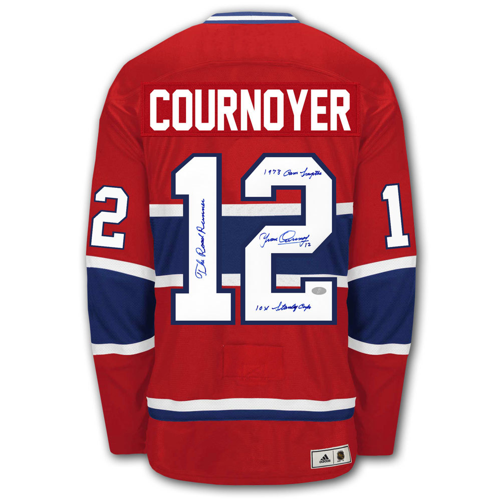 Yvan Cournoyer Montreal Canadiens STATS Adidas Vintage Pro Autographed Jersey