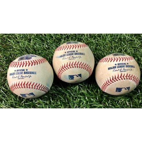 Photo of Game Used Baseball Package: Kevin Kiermaier, Manuel Margot and Yoshitomo Tsutsugo - Ryan Fleming MLB Debut - August 21-23, 2020 v TOR
