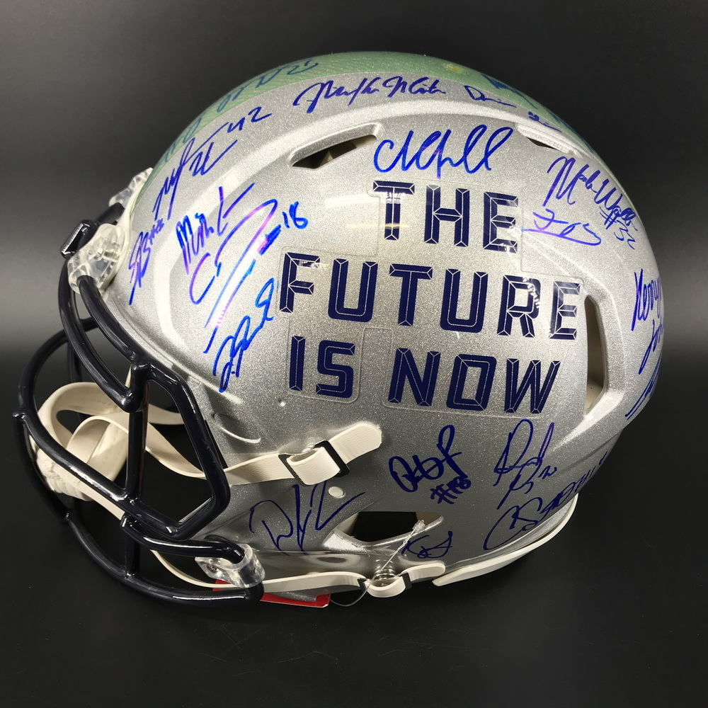 NFL - Authentic 2018 Draft Helmet Signed by Over 20 Players Including Saquan Barkley, Lamar Jackson, Josh Allen and Baker Mayfield