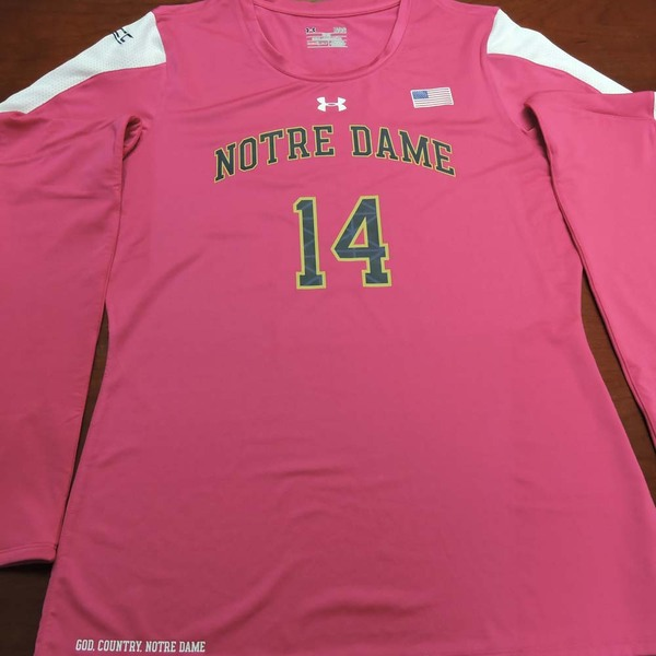 Photo of Notre Dame Volleyball Pink Jersey #14:  2016 Block Out Cancer Match, Under Armour® size L