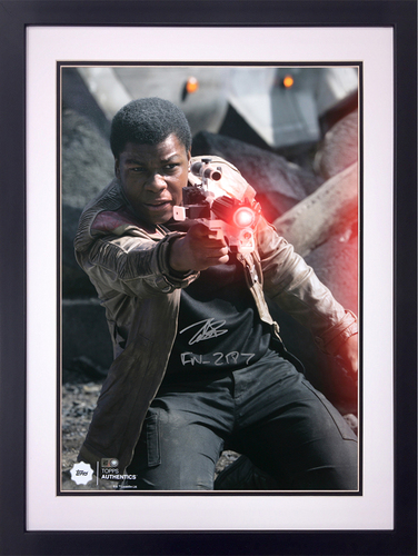 John Boyega as Finn 16x20 Autographed in Silver Ink Inscribed Framed Photo at the Battle of Takodana
