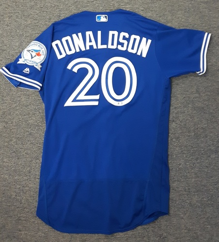 Authenticated Game Used Jersey - #20 Josh Donaldson (July 30, 2016). Donaldson went 2-for-3 with 1 Run, 2 Walks and 1 Strikeout.