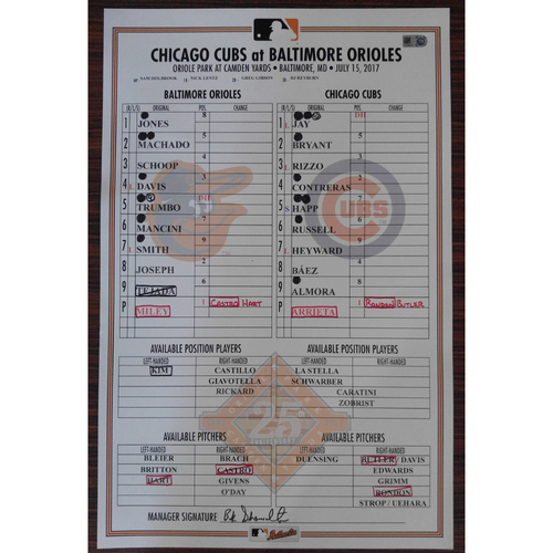 Photo of Game-Used Lineup Card: Baltimore Orioles vs. Chicago Cubs 7/15/2017