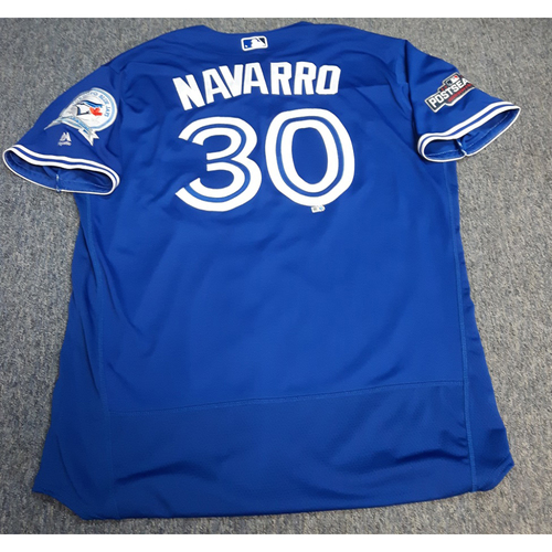 Photo of Authenticated Game Used 2016 Postseason Jersey - #30 Dioner Navarro (October 4 and 9: Wild Card Game and ALDS Game 3). Size 50.