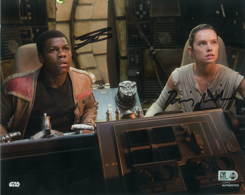 Daisy Ridley as Rey and John Boyega 8x10 Dual Autographed in Black Ink Photo