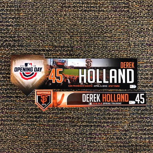 Photo of 2018 San Francisco Giants - 2018 Spring Training & 2018 Opening Day Locker Tag - #45 Derek Holland