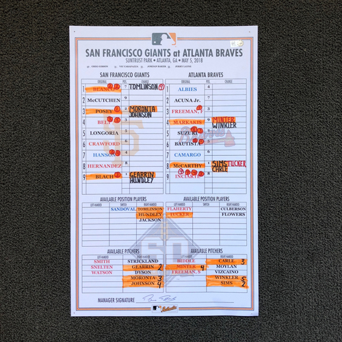 Photo of San Francisco Giants - Game Used Lineup Card: Evan Longoria's 1500th Career Hit from 5/5/18
