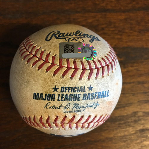 Photo of Game-Used Baseball: Pitcher Collin McHugh, Batter: Nomar Mazara (RBI Single) - Top 6 - 5/12/19 vs. TEX - Corbin Martin MLB Debut