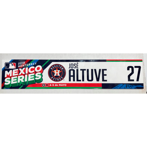 Photo of 2019 Mexico Series Game Used Locker Name Plate - Jose Altuve, Houston Astros at Los Angeles Angels - 5/4/19 - 5/5/19