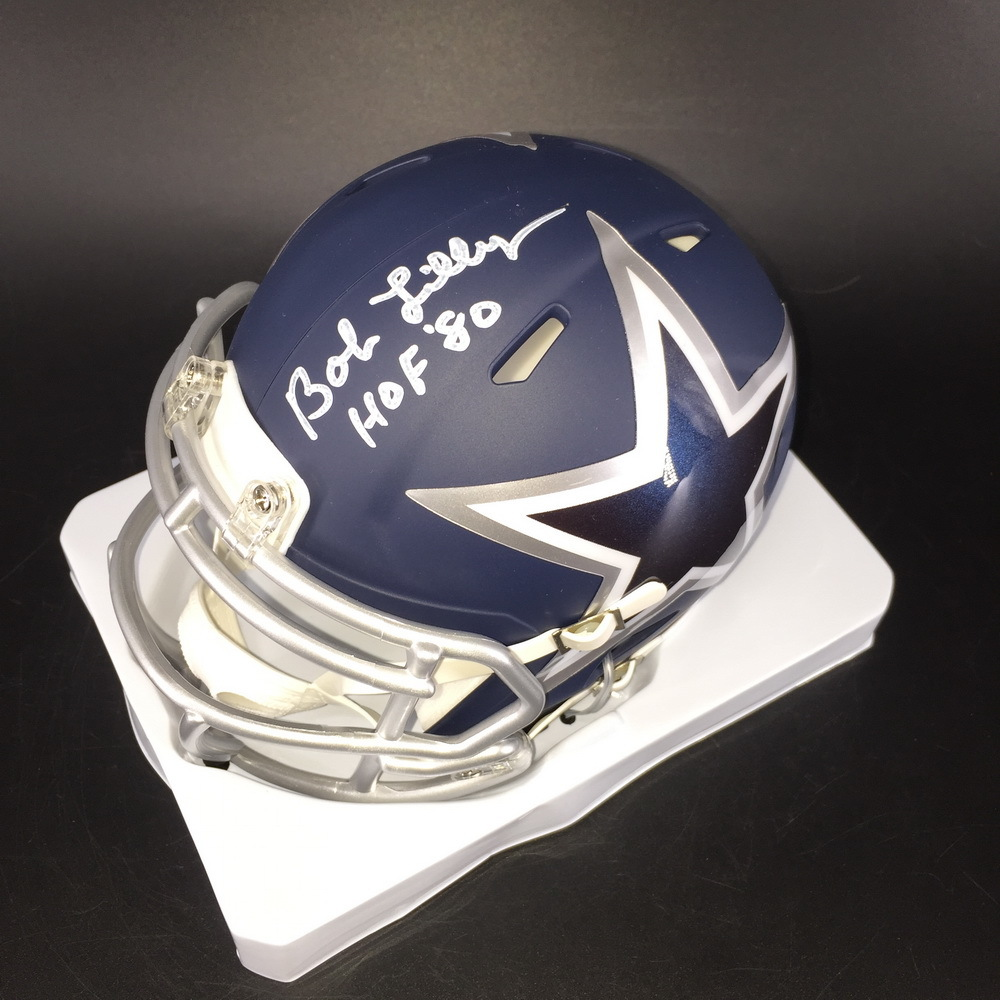 HOF - Cowboys Bob Lilly Signed Amp Alt Mini Helmet