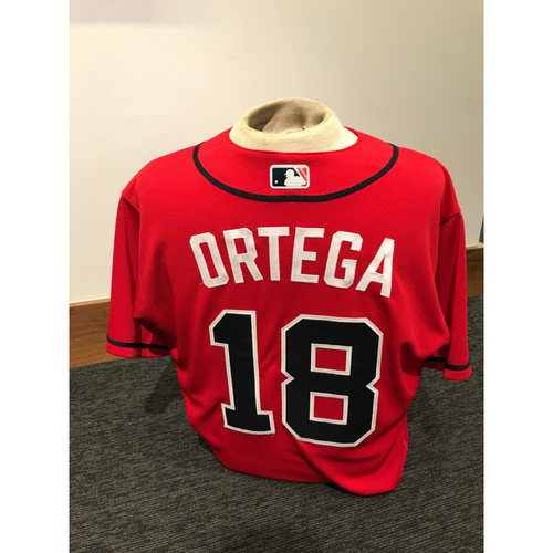 Photo of Rafael Ortega 2019 Atlanta Braves Game-Used Los Bravos Day Jersey