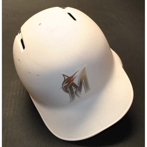 "Photo of Caleb ""SMITTY"" Smith Miami Marlins Game-Used 2019 Players' Weekend Helmet"
