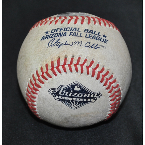Photo of Game-Used Baseball: 2019 Arizona Fall League - Pitcher: Forrest Whitley (HOU), Batter: Gavin Collins (CLE) - Single - Bot 5 - 10/19/2019