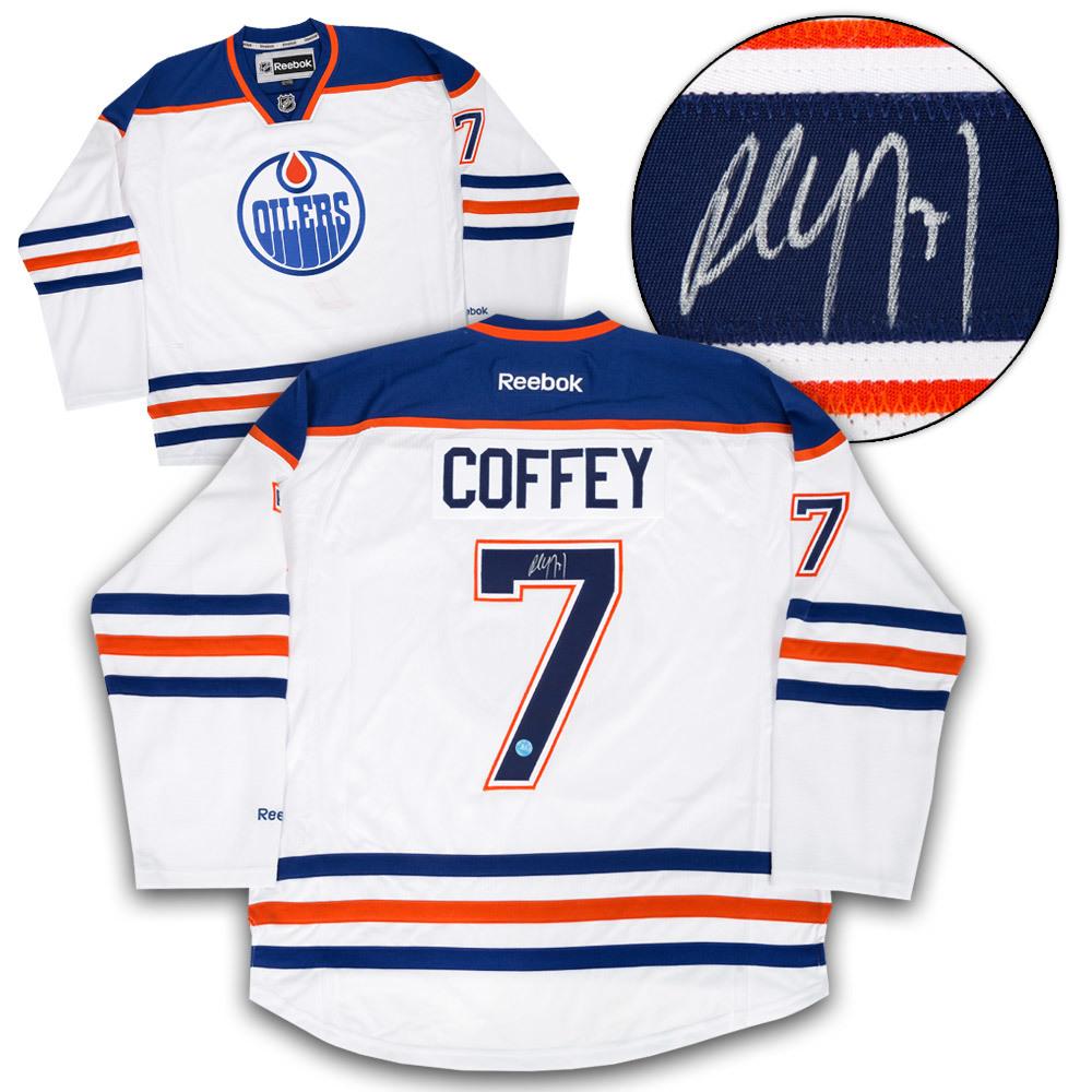 Paul Coffey Edmonton Oilers Autographed White Reebok Premier Hockey Jersey