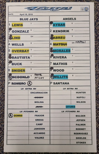 Photo of Authenticated Game Used Lineup Card (April 18, 2010 vs LAA): Complete Game Win for Ervin Santana