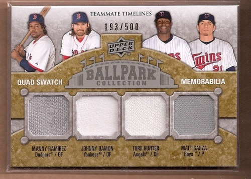 Photo of 2009 Upper Deck Ballpark Collection #271 Torii Hunter/Matt Garza/Manny Ramirez/Johnny Damon/500