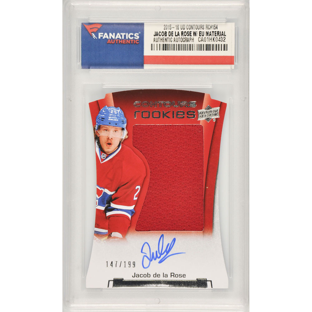 Jacob de la Rose Montreal Canadiens Autographed 2015-16 Upper Deck Contours Rookie #154 Card Containing a Piece of Event Used Material- Limited Edition of 199 Pack Pulled