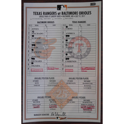 Photo of Game-Used Lineup Card: Baltimore Orioles vs. Texas Rangers 7/19/2017