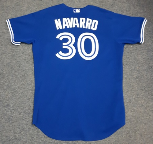 Photo of Authenticated Game Used Jersey - #30 Dioner Navarro (September 30, 2015: Blue Jays clinch 1st AL East Title in 22 years). Size 50