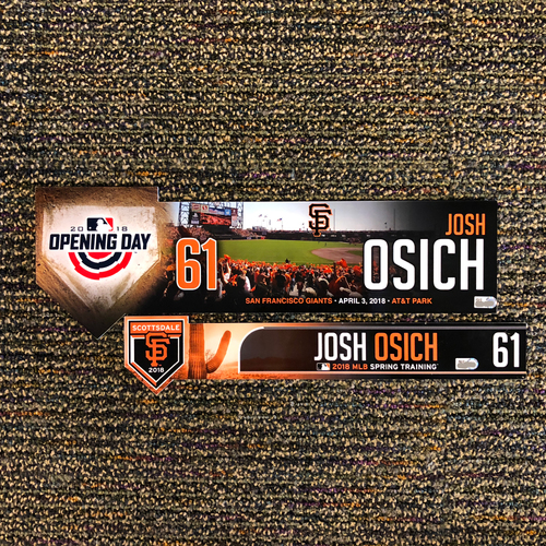 Photo of 2018 San Francisco Giants - 2018 Spring Training & 2018 Opening Day Locker Tag - #61 Josh Osich