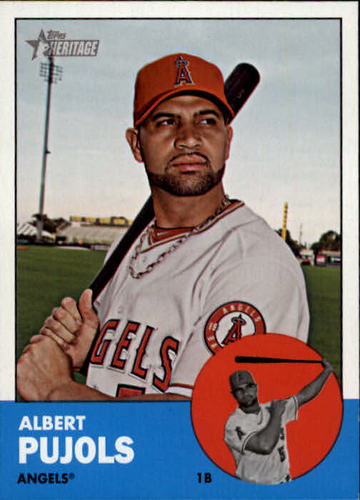 Photo of 2012 Topps Heritage #290A Albert Pujols -- Newest member of 3000-Hit Club