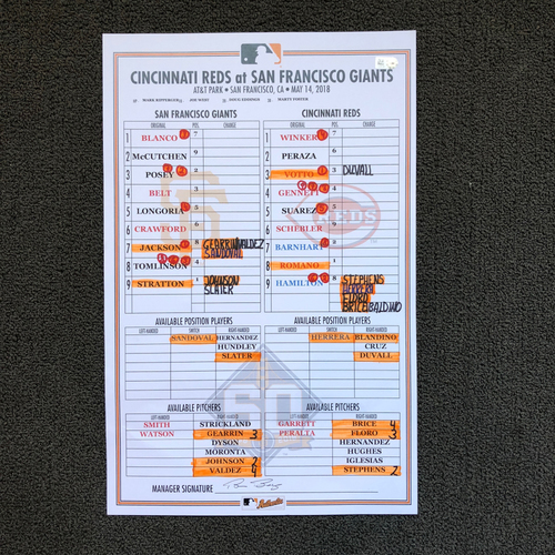 Photo of San Francisco Giants - Game Used Lineup Card: Andrew McCutchen's 1500th Career Hit from 5/14/18