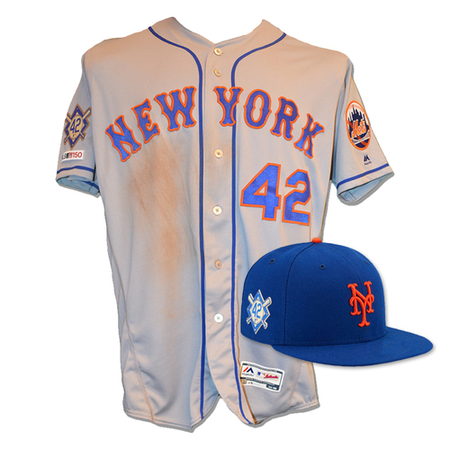 Photo of J.D. Davis - Game Used Road Grey Jackie Robinson #42 Jersey and Hat - 1-3, 1 R - Mets vs. Phillies - 4/15/19