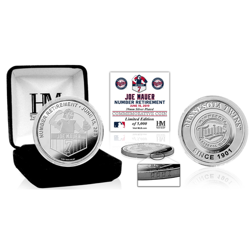 Photo of Joe Mauer Number Retirement Silver Coin