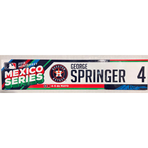 Photo of 2019 Mexico Series Game Used Locker Name Plate - George Springer, Houston Astros at Los Angeles Angels - 5/4/19 - 5/5/19
