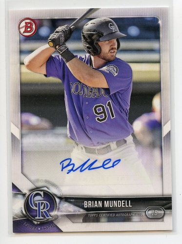 Photo of 2018 Bowman Prospect Autographs #PABMU Brian Mundell