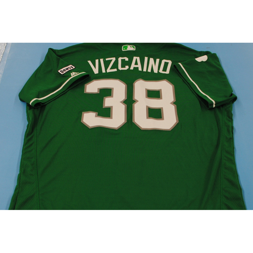 Photo of 2016 Spring Training - Spring Training St. Patrick's Day Game Used Jersey - Arodys Vizcaino (Braves)- Size- 48