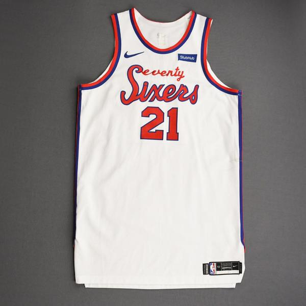 Image of Joel Embiid - Philadelphia 76ers - Game-Worn 1st Half Classic Edition 1970-71 Home Jersey - Double-Double - 2019-20 Season