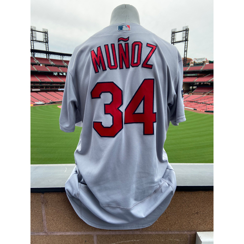 Photo of Cardinals Authentics: Yairo Munoz Game Worn Road Grey Postseason Jersey
