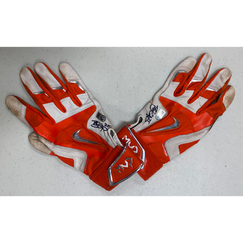 Photo of Team Issued Autographed Orange & White Nike Batting Gloves signed by #35 Brandon Crawford