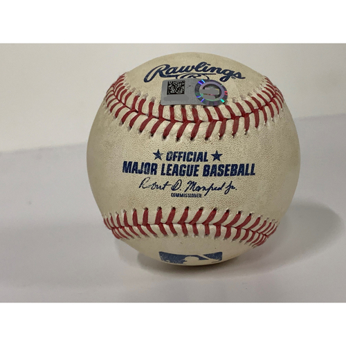 Photo of Game-Used Baseball - MIN at CLE - 8/25/2020  - Pitcher - Jorge Alcala, Batter - Francisco Lindor, Bot 6, 2-Run Home Run