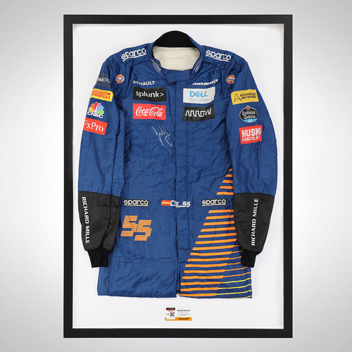 Photo of Carlos Sainz Jr 2020 Framed Signed Race-worn Race Suit - Portuguese GP