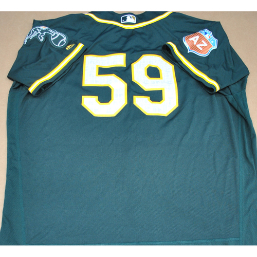 Photo of Game-Used 2016 Spring Training Jersey - Marcus Jensen - Size 52 - Oakland Athletics