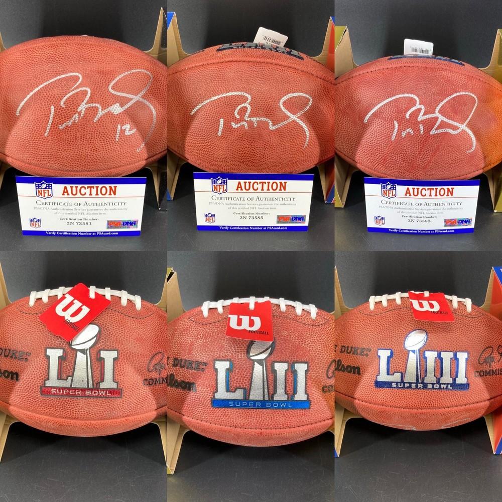 Legends - Patriots Tom Brady Super Bowl Bundle - Signed authentic footballs with Super Bowl LI, LII, and LIII logos- 3 total footballs