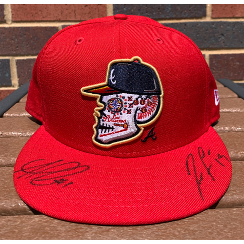 Photo of Ozzie Albies and Ronald Acuna Jr. MLB Authenticated and Autographed Los Bravos Style Hat
