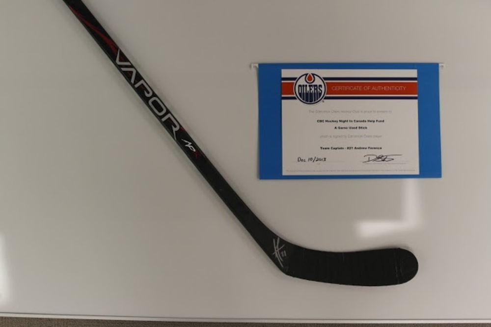 Andrew Ferrence Autographed Hockey Stick - Donated by the Edmonton Oilers
